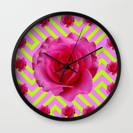 CONTEMPORARY CHARTREUSE PINK ROSES ABSTRACT GARDEN ART Wall Clock
