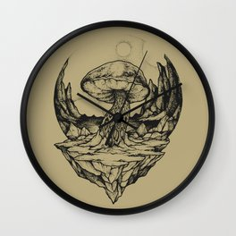 SACRED SHROOM - GOLD Wall Clock