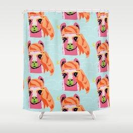 Pop Llama: Blue Shower Curtain