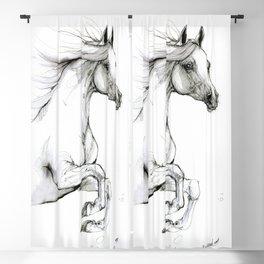 Arabian horse ink art Blackout Curtain