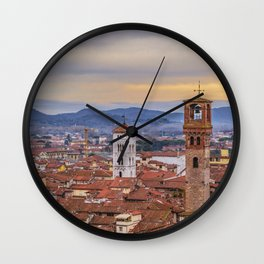 Aerial View Historic Center of Lucca, Italy Wall Clock