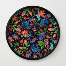 Asian-Inspired Colorfully Ornate Floral Pattern Wall Clock