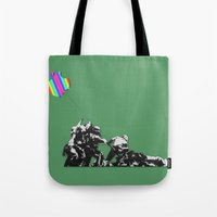banksy Tote Bags featuring Banksy style by veronica ∨∧