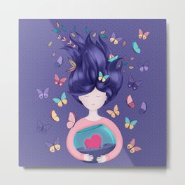 Dreams Come True - Doll With Violet Hair on Purple Metal Print