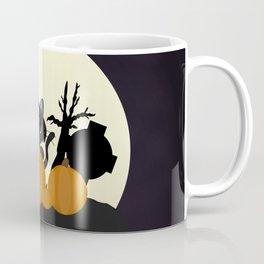 Halloween Black Cat with Pumpkins in a Graveyard Coffee Mug