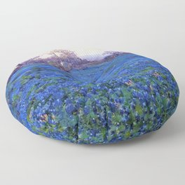 Bluebonnets at Twilight, mountain-desert landscape painting by Robert Julian Onderdonk Floor Pillow