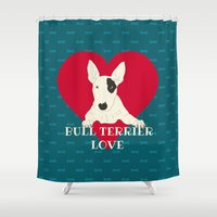 bull terrier Shower Curtains featuring Bull Terrier Love by ShaMiLa