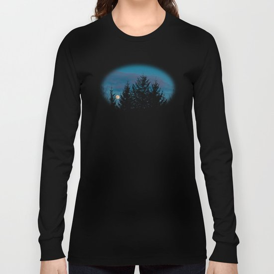 Full moon in the firs Long Sleeve T-shirt