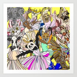 Party Animals Dancing Art Print