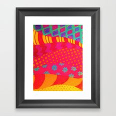 THE FASHIONISTA - Bright Vibrant Abstract Waves Mixed Media Whimsical Fashion Fabric Pattern Framed Art Print