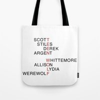 teen wolf Tote Bags featuring Teen Wolf  by Dan Lebrun