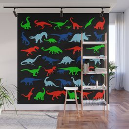 silhouettes of dinosaur pattern Wall Mural