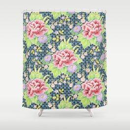 Kimono Bouquet Brocade Shower Curtain
