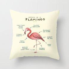 Anatomy of a Flamingo Throw Pillow