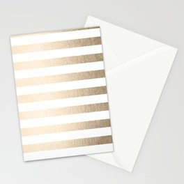 Simply Striped in White Gold Sands Stationery Cards