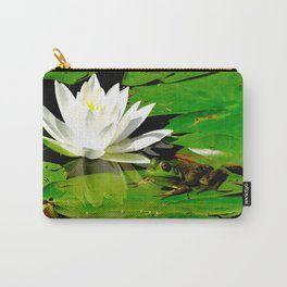 Frog with lily flower reflection Carry-All Pouch
