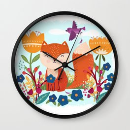 A Fox In The Flowers With A Flying Feathered Friend Wall Clock