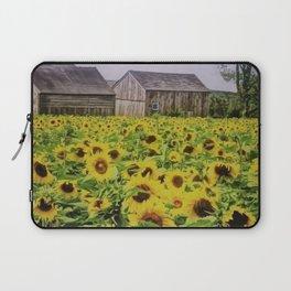 Summer Sunflower Fields, New England by Jeanpaul Ferro Laptop Sleeve