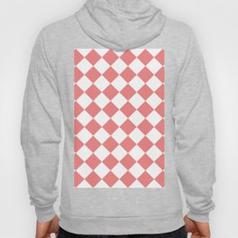 Large Diamonds - White and Coral Pink Hoody