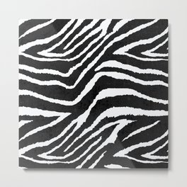ZEBRA ANIMAL PRINT BLACK AND WHITE PATTERN Metal Print