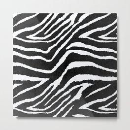 ZEBRA ANIMAL PRINT BLACK AND WHITE PATTERN Metal Print