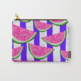 Watermelon Crush on purple stripes Carry-All Pouch