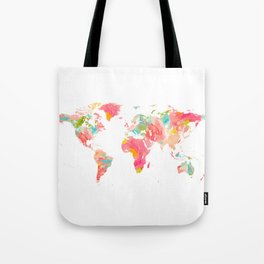 world map pink floral watercolor Tote Bag