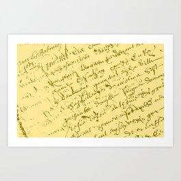 French Script on Yellow Art Print