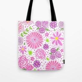 Happy Spring Flowers Tote Bag