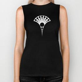 black and white art deco inspired fan pattern Biker Tank