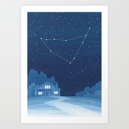 Capricorn Constellation, zodiac, house Art Print