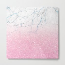 Pink gold glitter and azure white marble Metal Print