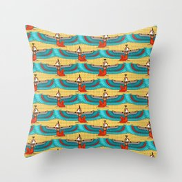 Isis and Nephtys - Turquoise and yellow Throw Pillow