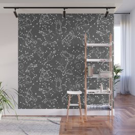Constellations animal constellations stars outer space night sky pattern by andrea lauren grey Wall Mural