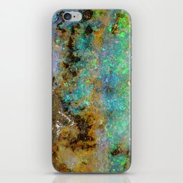 Geode opal iridescent holographic marble druse crystal quartz agate gem gemstone mineral stone photo iPhone Skin