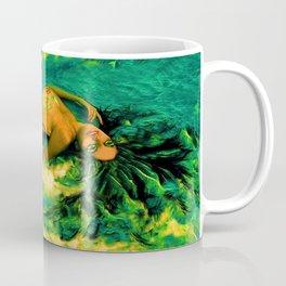 Nude Mermaid white green tail ladykashmir Coffee Mug