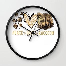 peace love raccoon Wall Clock