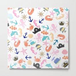 Cute trendy pink teal colorful marine nautical pattern Metal Print