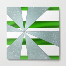 4Shades Glass: Green White Metal Print