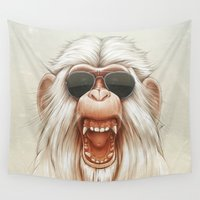 dave grohl Wall Tapestries featuring The Great White Angry Monkey by Dr. Lukas Brezak