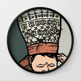 Central Asian Woman Thinking (in hat) Wall Clock