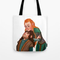 kili Tote Bags featuring Tauriel and Kili by Hattie Hedgehog