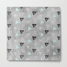 60ies - Black abstract triangle pattern on concrete - Mix&Match with Simplicty of life Metal Print