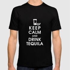 Keep Calm and Drink Tequilla Black Mens Fitted Tee MEDIUM