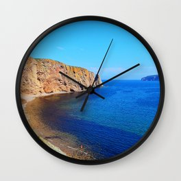 Perce Rock at Low Tide Wall Clock