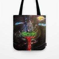 castle in the sky Tote Bags featuring Castle in the Sky by Sarah Maurer