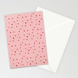 Stars, trees & snow - Pink Stationery Cards