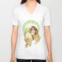 art nouveau V-neck T-shirts featuring Art nouveau by superkip