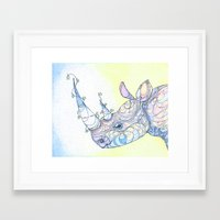 rhino Framed Art Prints featuring Rhino by Kate Fitzpatrick