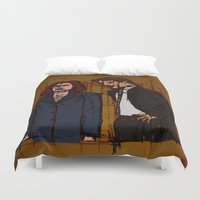 mulder Duvet Covers featuring there's something out there, mulder by Melvin Pena